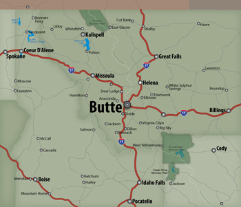 Eric Olason :: Cartographic Artist :: Butte, Montana Locater Map